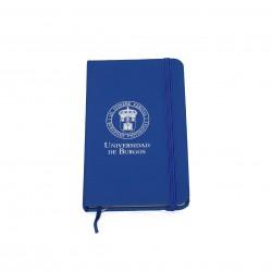 Libreta azul con goma escudo