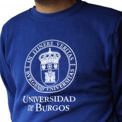 Sudadera básica unisex escudo azul UBU detalle
