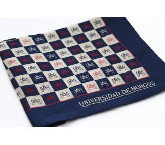 Pañuelo seda UBU pequeño azul marino y blanco