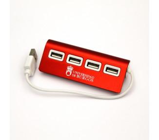 Conector HUB 4 puertos USB rojo