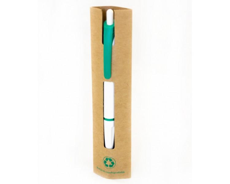 Bolígrafo ECO blanco y verde en funda de cartón