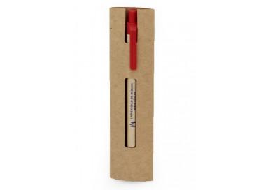 Bolígrafo ECO rojo en funda de cartón