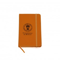 Libreta naranja con goma escudo