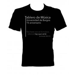 Camiseta Tablero de Música 15 aniversario negra delantera