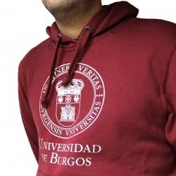 Sudadera escudo UBU burdeos detalle