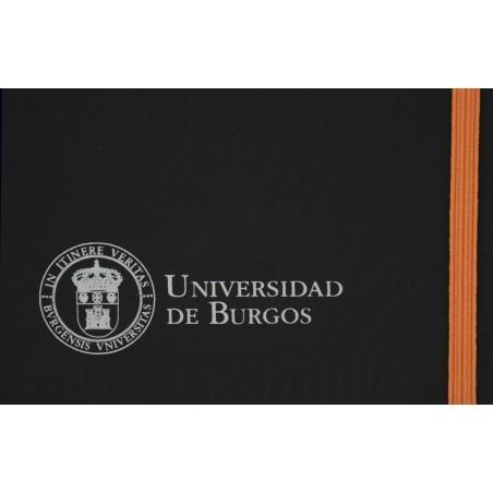 Libreta negra polipiel A5 naranja detalle