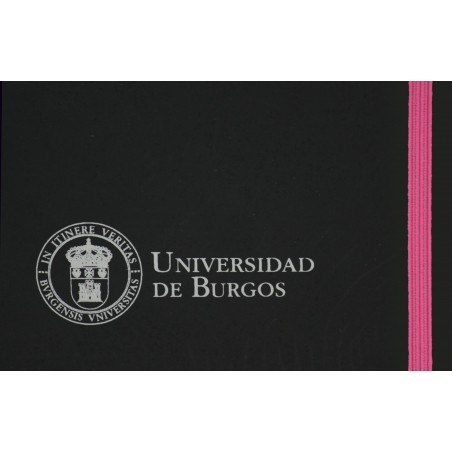 Libreta negra polipiel A5 rosa detalle