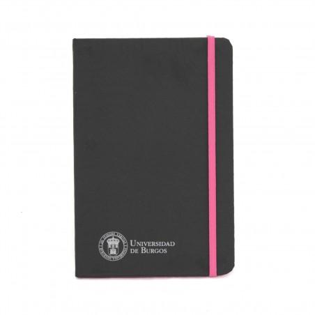 Libreta negra polipiel A5 rosa